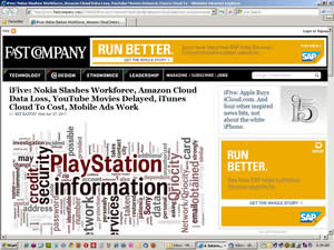 FastCompany web page with graphic from Wordle.