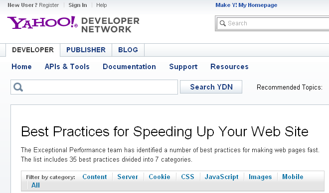 Screen shot of Yahoo!'s Best Practices for Speeding Up Your Web Site page.